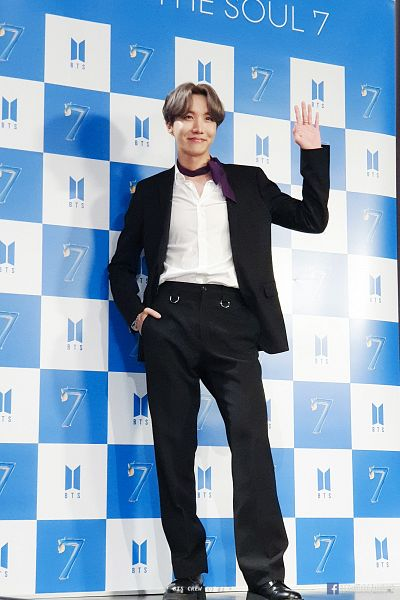 Tags: K-Pop, BTS, J-Hope, Ring, Black Footwear, Purple Neckwear, Black Pants, Text: URL, Wave, Black Jacket, Text: Artist Name, Suit