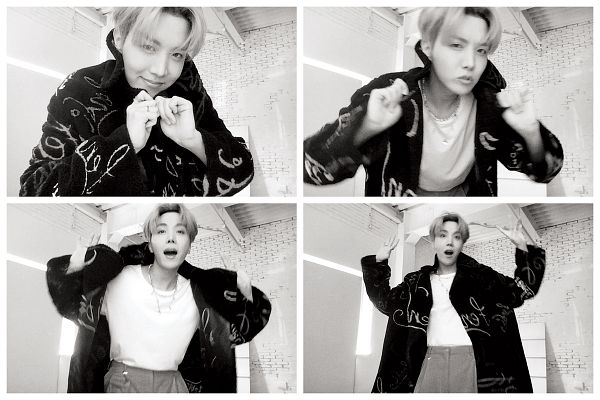 Tags: K-Pop, BTS, J-Hope, Monochrome, Necklace, Multiple Persona, Pouting, White Border, Magazine Scan, Rolling Stone