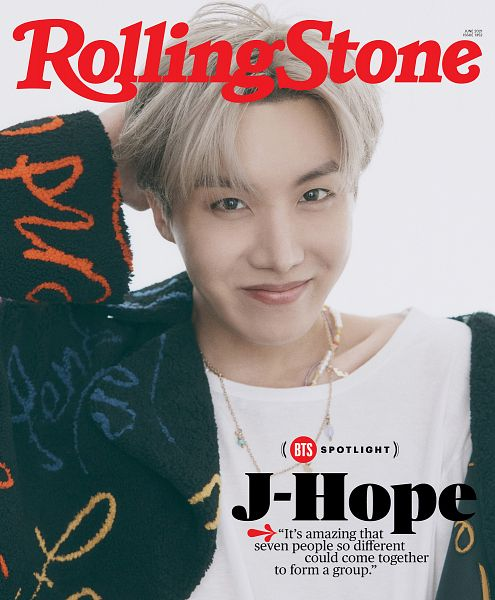 Tags: K-Pop, BTS, J-Hope, Light Background, Text: Artist Name, White Background, Necklace, Hand In Hair, Text: Magazine Name, English Text, Rolling Stone, Magazine Scan