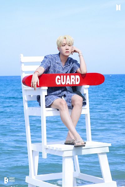 Tags: K-Pop, BTS, Butter, J-Hope, Blue Shirt, Outdoors, Shoes, Sandals, Arm Support, Shorts, Stool, Serious
