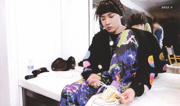 Tags: K-Pop, BTS, Chicken Noodle Soup, J-Hope, Bandana, Necklace, Purple Pants, Glass, Yellow Footwear, Dreadlocks, Mirror, Indoors