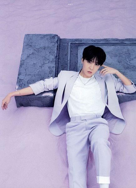 Tags: K-Pop, BTS, J-Hope, Necklace, Purple Outerwear, Bracelet, Purple Pants, Laying On Back, Serious, Laying Down, Purple Jacket, BTS The Best