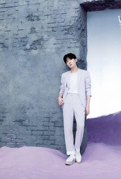 Tags: K-Pop, BTS, J-Hope, Purple Outerwear, Purple Pants, Serious, Purple Jacket, Wall, BTS The Best, Scan