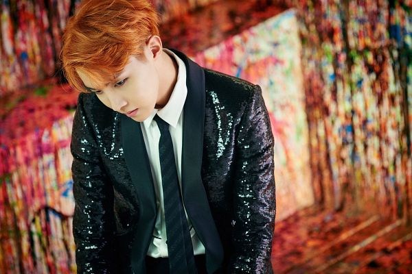 Tags: K-Pop, BTS, J-Hope, Red Hair, Tie, Black Outerwear, Looking Ahead, Black Jacket, Looking Down, Wings (Album), Wallpaper