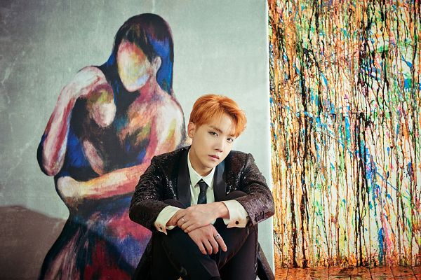 Tags: K-Pop, Bangtan Boys, J-Hope, Black Jacket, Red Hair, Tie, Canvas, Sitting On Ground, Black Outerwear, Wings (Album), Wallpaper