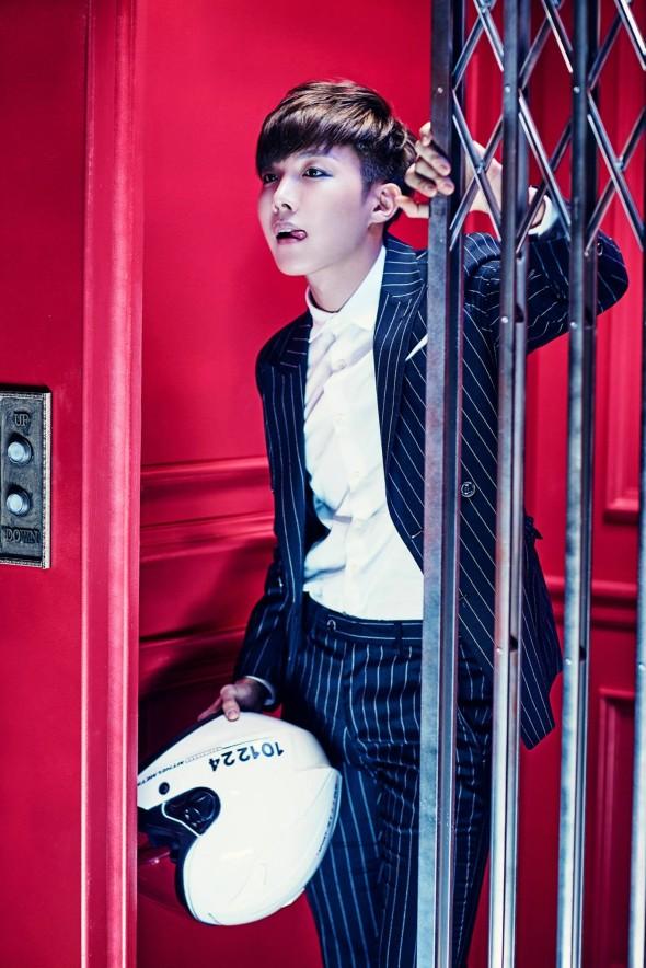 Tags: K-Pop, BTS, DOPE, J-Hope, Striped, Tongue, Elevator, Striped Jacket, Make Up, Eyeliner, Helmet, Black Eyes
