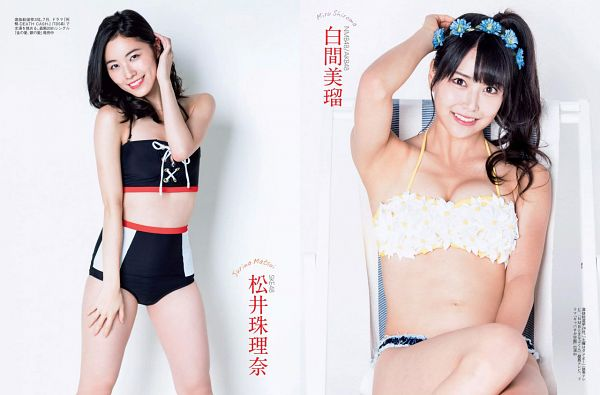 Tags: J-Pop, NMB48, AKB48, SKE48, Shiroma Miru, Matsui Jurina, Blunt Bangs, Duo, Crown, Bare Shoulders, Suggestive, Light Background