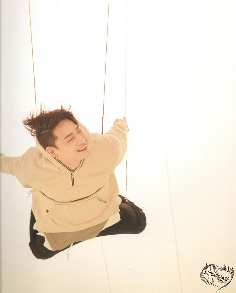 Tags: K-Pop, Got7, JB, White Background, Eyes Closed, Flying, Hoodie, Light Background, Flight Log: Departure Monograph, Scan