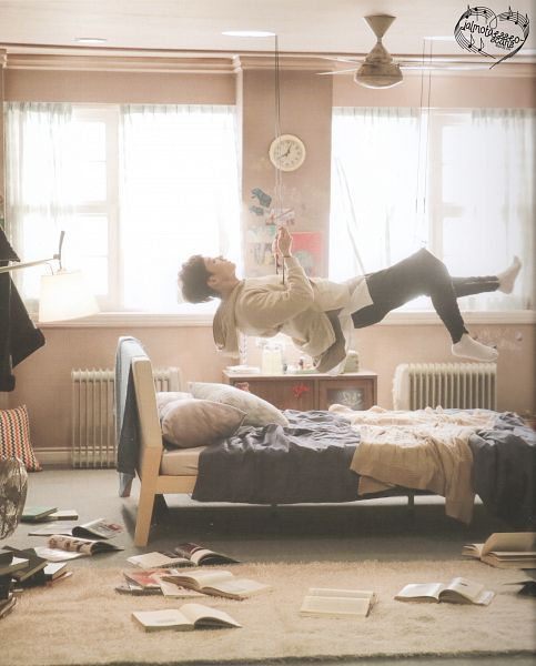 Tags: K-Pop, Got7, JB, Book, Black Pants, Lamp, Pillow, Open Book, Clock, Bed, Flying, Scan