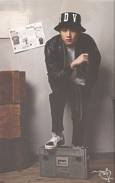 Tags: K-Pop, Got7, JB, Black Outerwear, Leather Jacket, Serious, Black Pants, Hat, Black Jacket, Ring, Radio, Bend Over