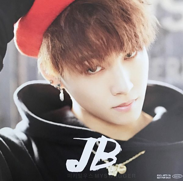 Tags: K-Pop, Got7, My Swagger, JB, Hand On Hat, Serious, Black Shirt, Hoodie, Hat, Text: Artist Name, Scan
