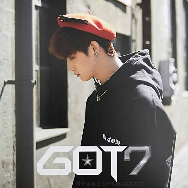 Tags: K-Pop, Got7, My Swagger, JB, Looking Ahead, Window, Text: Artist Name, Hoodie, Serious, Looking Down, Side View, Black Shirt