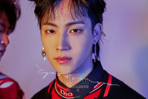 Tags: K-Pop, Got7, JB, Text: Artist Name, Text: Album Name, Purple Background, Serious, Text: Calendar Date, Mole, English Text, Facial Mark, Eyes On You