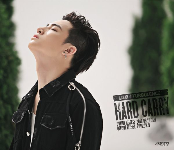 Tags: K-Pop, Got7, JB, Black Jacket, English Text, Text: Calendar Date, Looking Up, Text: Song Title, Text: Album Name, Tree, Eyes Closed, Plant