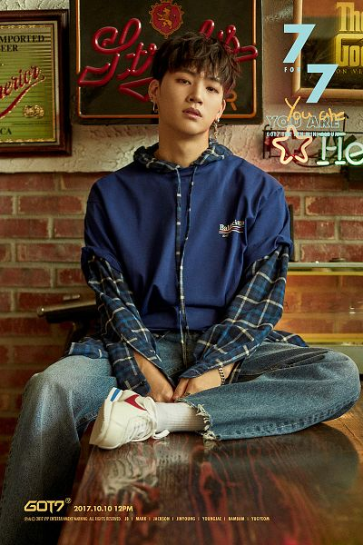 Tags: K-Pop, Got7, JB, Jeans, Blue Pants, Checkered, English Text, Serious, Table, Text: Calendar Date, Text: Song Title, White Footwear