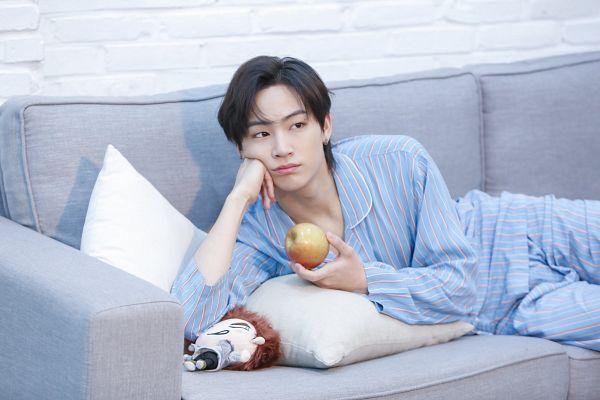 Tags: K-Pop, Got7, JB, Laying Down, Striped, Looking Ahead, Striped Shirt, Fruits, Pillow, Arm Support, Apple, Nightwear