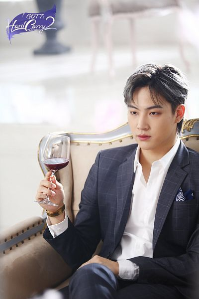 Tags: K-Pop, Got7, JB, Gray Hair, Crossed Legs, Alcohol, Cup, Gray Outerwear, Serious, Wine, Gray Jacket, Glass (Cup)