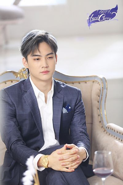 Tags: K-Pop, Got7, JB, Hand On Leg, Gray Hair, Hand On Knee, Interlocked Fingers, Alcohol, Cup, Suit, Crossed Legs, Gray Outerwear
