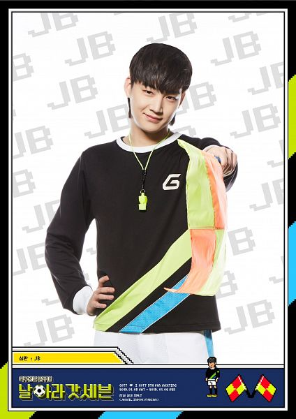 Tags: K-Pop, Got7, JB, Hand On Hip, Whistle, Korean Text, Flag, Black Eyes, Text: Artist Name