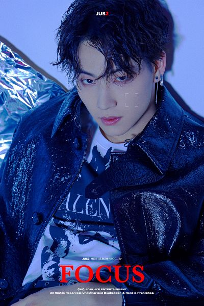 Tags: K-Pop, Got7, JB, English Text, Text: Artist Name, Black Eyes, Sitting, Black Outerwear, Jacket, Text: Album Name, Bent Knees, Earrings