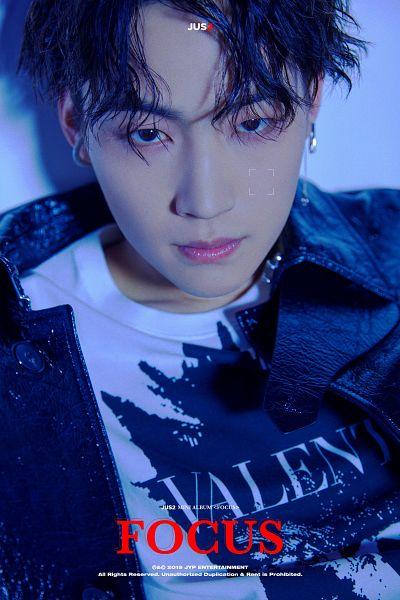 Tags: K-Pop, Got7, JB, English Text, Text: Artist Name, Jacket, Black Outerwear, Black Eyes, Earrings, Text: Album Name, Serious, Black Jacket