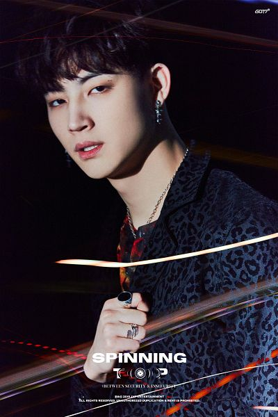 Tags: K-Pop, Got7, JB, Mole, English Text, Facial Mark, Ring, Text: Artist Name, Necklace, Text: Album Name, Black Eyes, Animal Print