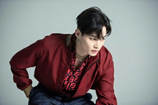 Tags: K-Pop, Got7, JB, Looking Ahead, Bend Over, Red Shirt, Serious, Men's Folio, Magazine Scan