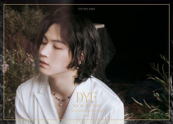 Tags: K-Pop, Got7, JB, Medium Hair, Eyes Closed, Text: Artist Name, Necklace, Text: Album Name, English Text, Plant, Text: Song Title, Dye