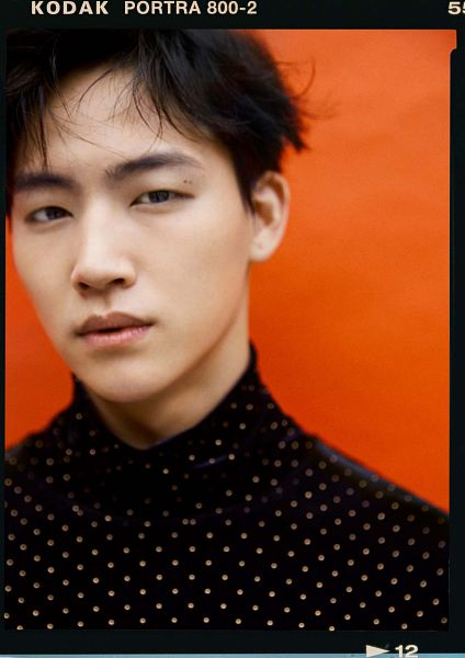 Tags: K-Pop, Got7, JB, Orange Background, Frame, Mole, Spotted, Facial Mark, Serious, Spotted Shirt, Magazine Scan, Allure
