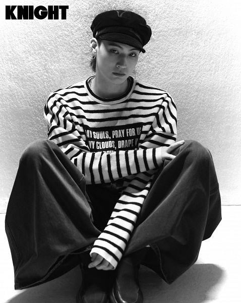 Tags: K-Pop, Got7, JB, Striped Shirt, Striped, Black Pants, Wall, English Text, Hat, Serious, Text: Magazine Name, Knight Magazine
