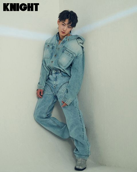 Tags: K-Pop, Got7, JB, Boots, Text: Magazine Name, Light Background, Denim Outfit, White Background, Wall, Shoes, Blue Outfit, Belt