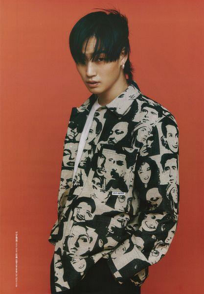 Tags: K-Pop, Got7, JB, Serious, Black Pants, Hand In Pocket, Medium Hair, Red Background, Beauty+, Magazine Scan