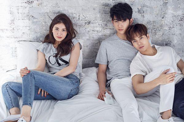 Tags: K-Pop, Got7, JYP Entertainment, Jackson, Jeon Somi, Park Jinyoung (Junior), Pillow, Blue Pants, Serious, Sitting, Hand On Leg, Bent Knees