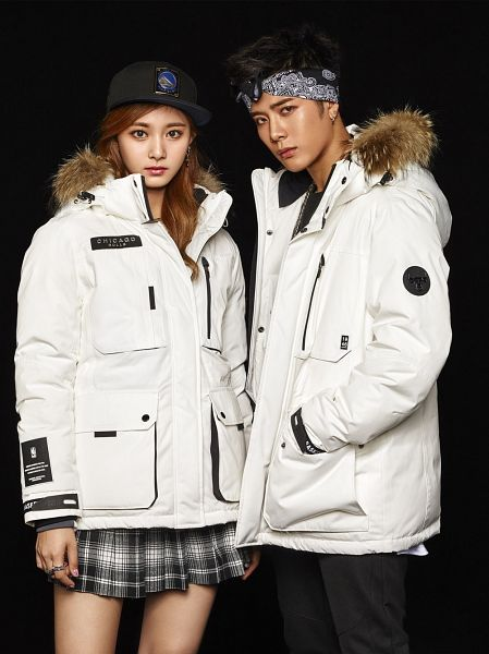 Tags: JYP Entertainment, K-Pop, Twice, Got7, Tzuyu, Jackson, Pleated Skirt, Ring, White Jacket, Fur Trim, White Outfit, Serious