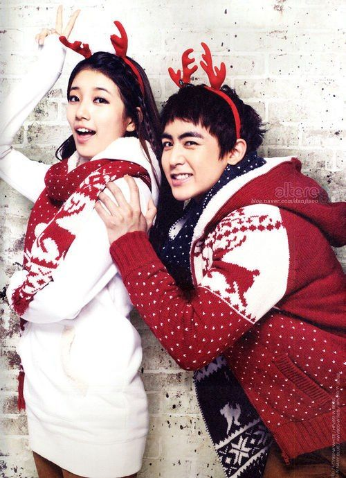 Tags: JYP Entertainment, K-Pop, 2PM, Miss A, Bae Suzy, Nichkhun, Hoodie, Antlers, Red Shirt, Grin, Braids, White Dress