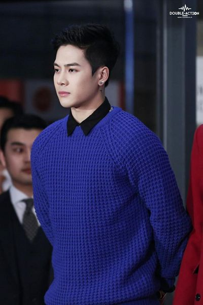 Tags: K-Pop, Got7, Jackson, Arms Behind Back, Sweater, Blue Outerwear, Blue Shirt, Double-action