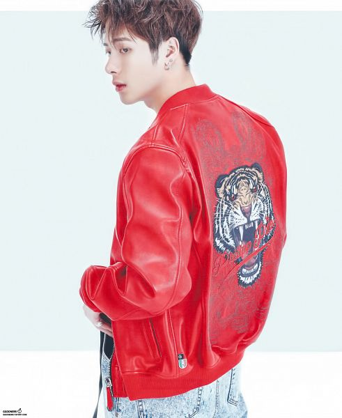 Tags: K-Pop, Got7, Jackson, Red Lips, White Background, Ring, Red Jacket, Pants, Jacket, Simple Background, Red Outerwear, Jeans