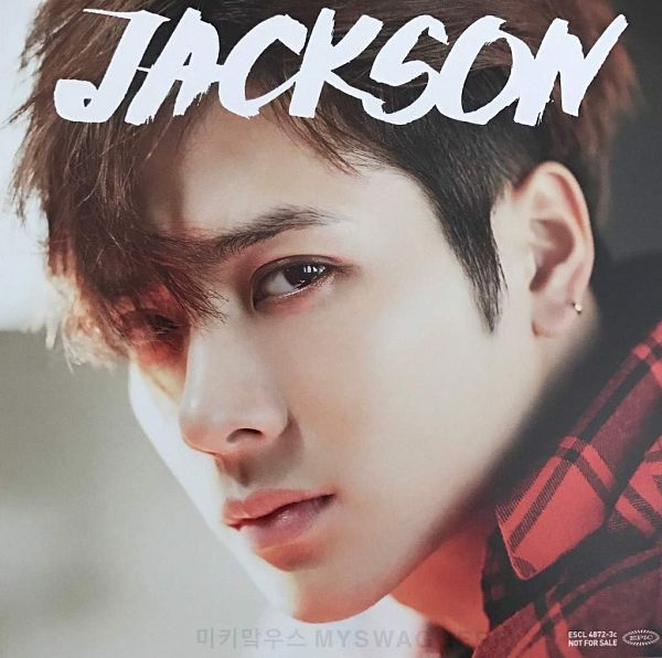 Tags: K-Pop, Got7, My Swagger, Jackson, Text: Artist Name, Red Shirt, Serious, Close Up, Scan