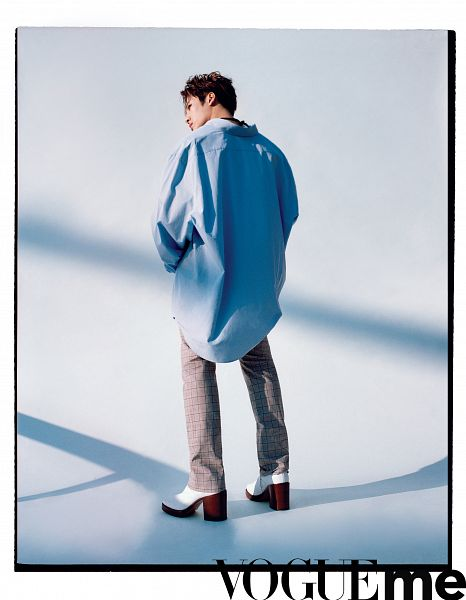 Tags: K-Pop, Got7, Jackson, Full Body, Standing, Blue Shirt, Short Hair, Shadow, High Heels, Back, Pants, Magazine Scan