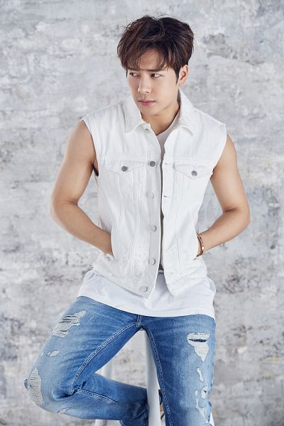Tags: K-Pop, Got7, Jackson, Sitting On Chair, Bare Shoulders, Chair, Vest, Looking Away, Ripped Pants, Sleeveless, Stool, Sleeveless Shirt