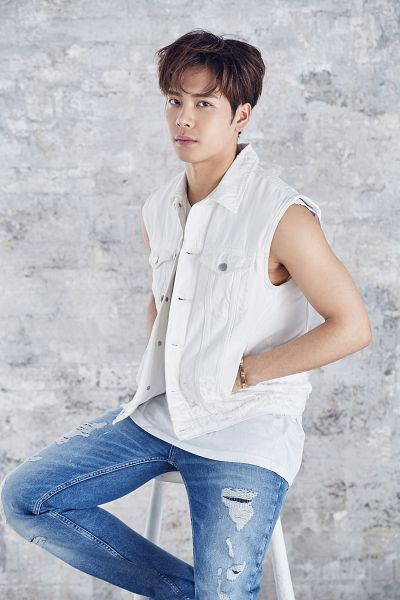 Tags: K-Pop, Got7, Jackson, Chair, Hand In Pocket, Bare Shoulders, Blue Pants, Sitting On Chair, Serious, Vest, Ripped Pants, Sleeveless