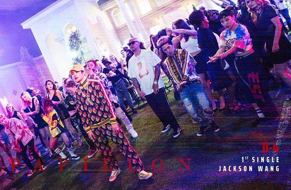 Tags: K-Pop, Got7, Papillon, Jackson, Hat, Text: Artist Name, Text: Song Title, Glasses, Sunglasses, Night, Group, Bald