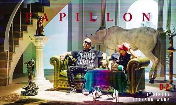 Tags: K-Pop, Got7, Papillon, Jackson, Couch, Sitting On Couch, Bald, Hat, Two Males, Text: Song Title, Text: Artist Name, Duo