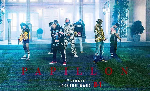 Tags: K-Pop, Got7, Papillon, Jackson, Group, Hood, Hat, Text: Artist Name, Hood Up, Text: Song Title, Full Body