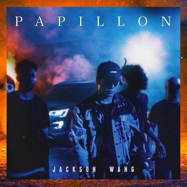 Tags: K-Pop, Got7, Papillon, Jackson, Hat, Night, Text: Artist Name, Car, Text: Song Title