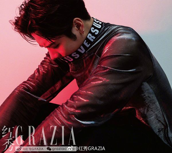 Tags: K-Pop, Got7, Jackson, Looking Ahead, Jacket, Earrings, Leather Jacket, Looking Down, Chinese Text, Grazia China, Magazine Scan