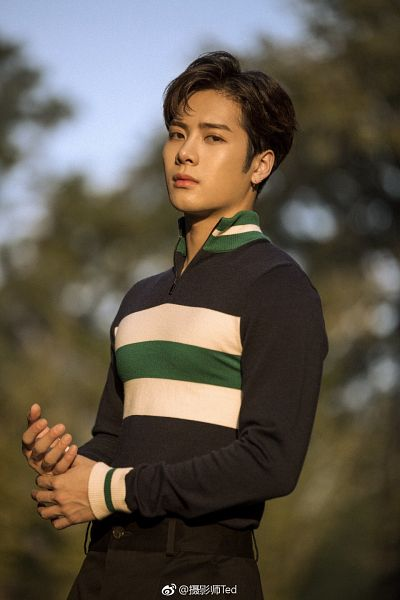 Tags: K-Pop, Got7, Jackson, Pants, Plant, Tree, Text, Chinese Text, Earrings, Striped, Striped Shirt, Black Pants