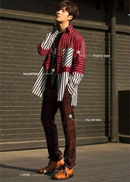 Tags: K-Pop, Got7, Jackson, Pants, Full Body, Hand In Pocket, Hand On Neck, Text, Chinese Text, Striped Shirt, Striped, Grazia China