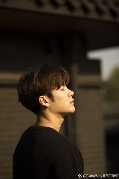 Tags: K-Pop, Got7, Jackson, Side View, Text, Eyes Closed, Black Shirt, Earrings, Chinese Text, Grazia China, Magazine Scan