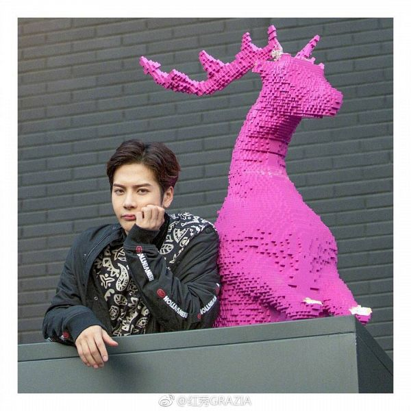 Tags: K-Pop, Got7, Jackson, Hand On Head, Hand On Cheek, Text, Arm Support, Short Hair, Animal, Chinese Text, Grazia China, Magazine Scan
